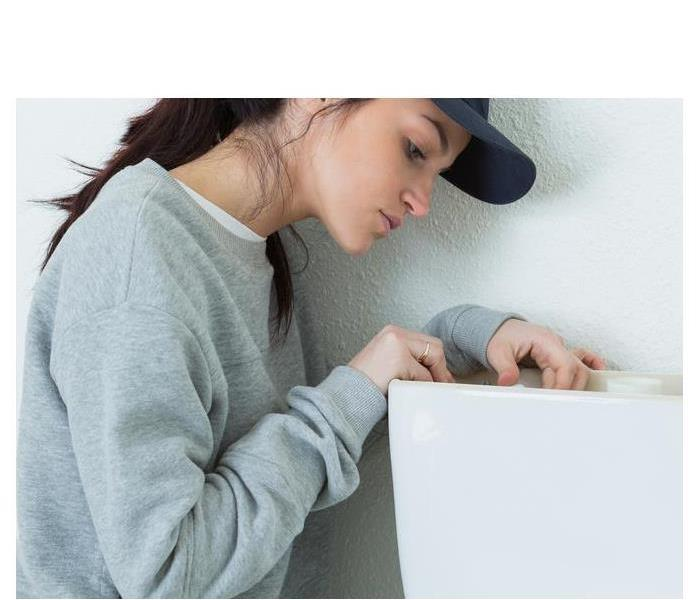 Female fixing a toilet tank