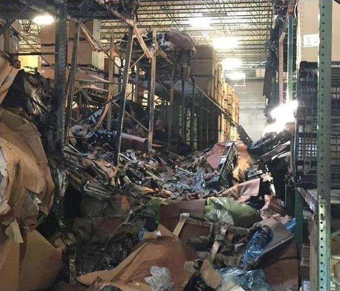 Fire restoration company cleaning up after fire damage